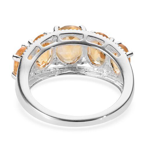 Brazilian Citrine (Ovl) Five Stone Ring in Sterling Silver 3.50 Ct.