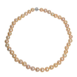 Freshwater Peach Pearl Beaded Necklace in 9K White Gold 1.20 Grams 20 Inch