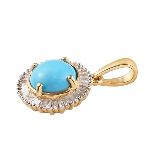 Arizona Sleeping Beauty Turquoise and White Diamond Halo Pendant in 14K Gold Overlay Sterling Silver 1.20 Ct.