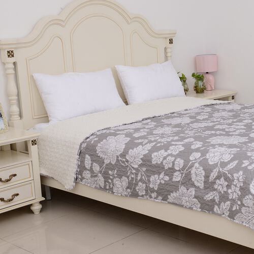 Cream Colour High-Quality Printed Microfiber and Sherpa Grey and White Colour Quilt with Floral Design Double Size  (Size 260x240 Cm)