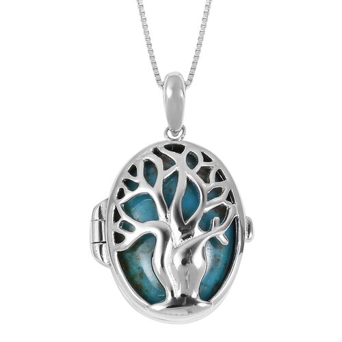 Anhui Turquoise (Ovl) Tree of Life Pendant With Chain (Size 18) in Rhodium Plated Sterling Silver 8.750 Ct.