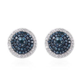 0.74 Ct Blue and White Diamond Stud Earrings in Platinum Plated Sterling Silver