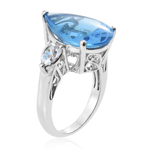 Marambaia Topaz (Pear 14.00 Ct), White Topaz Ring in Platinum Overlay Sterling Silver 15.500 Ct. Silver wt 5.58 Gms.