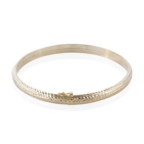 Royal Bali Collection- 9K Yellow Gold Diamond Cut Bangle (Size 7.5), Gold wt 5.21 Gms