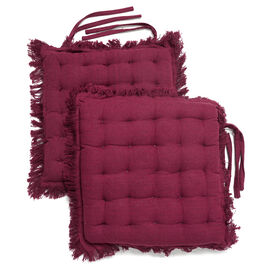 Set of 2 - 100% Cotton Cover and Filled Chair Pads with Fringes (40x40x3cm) - Wine Red