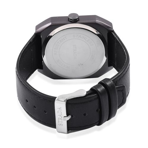 STRADA Japanese Movement Black Dial Watch in Black Tone with Black Colour Strap