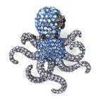Multicolour Austrian Crystal Octopus Brooch in Black Tone