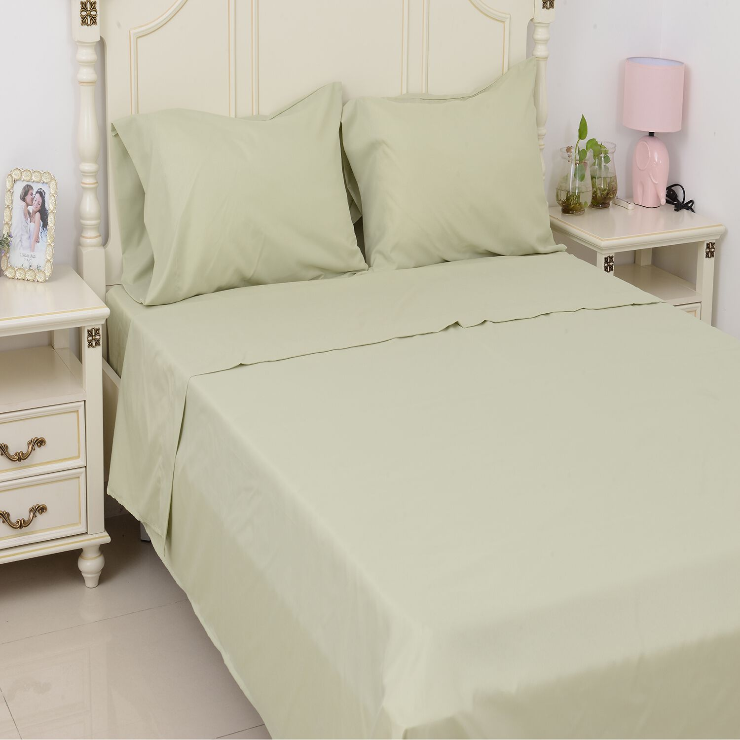 Solid Colour Bamboo Double Size 1 Fitted Sheet 1 Flat Sheet and 2 Pillow Covers Ivory TJC 4 Piece Set