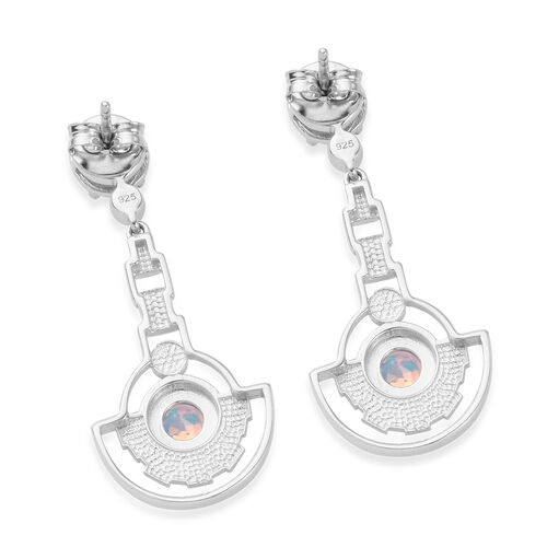 Mercury Mystic Topaz Earrings (with Push Back) in Platinum Overlay Sterling Silver 2.25 Ct, Silver wt 5.11 Gms