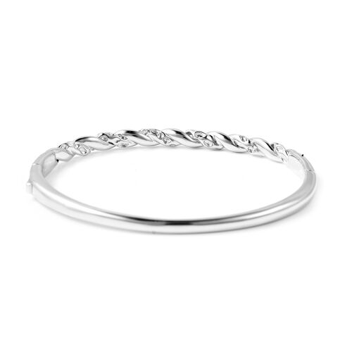 RACHEL GALLEY Rhodium Overlay Sterling Silver Twisted Lattice Bangle (Size 7.5), Silver wt 22.98 Gms