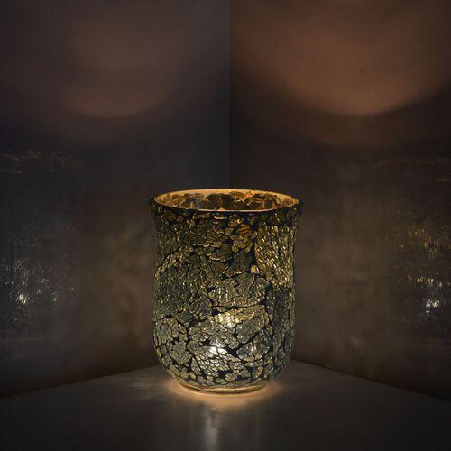 Home Decor - Crackle Glass Flower Vase or Tea Light Holder