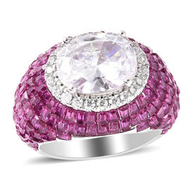Lustro Stella - Simulated Ruby and Simulated Diamond Ring in Platinum Overlay Sterling Silver , Silv