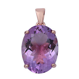 Rose De France Amethyst (Ovl 20x15 mm) Solitaire Pendant in Rose Gold Overlay Sterling Silver 16.64