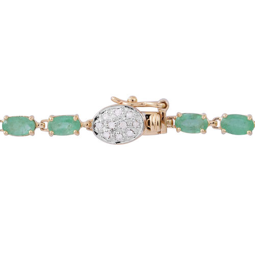 9K Yellow Gold AA Kagem Zambian Emerald (Ovl), Diamond Bracelet (Size 7.5) 6.000 Ct.