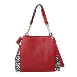 Dalmatian Print Handbag with Detachable Shoulder Strap (Size - 33x14x22cm) - Burgundy