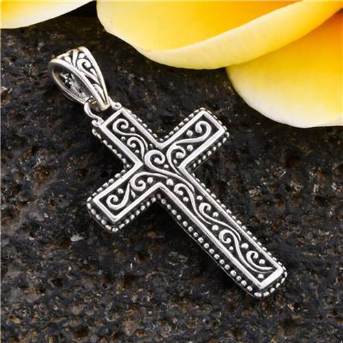 Royal Bali Collection - Sterling Silver Cross Pendant, Silver wt. 3.30 Gms