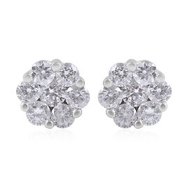 9K White Gold 0.50 Carat Diamond Floral Stud Earrings SGL Certified I3 G-H
