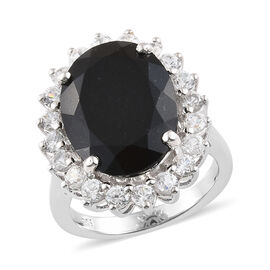 Black Tourmaline (Ovl 16x12 mm, 9.35 Ct), Natural Cambodian Zircon Sunburst Ring in Platinum Overlay