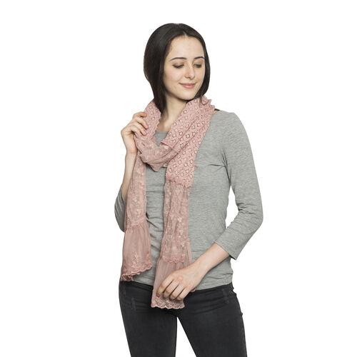 New For Season - 100% Micro - Cotton Slub Lace Dusty Pink Colour Scarf (Size 200x40 Cm)