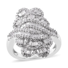 Diamond Cluster Ring in Platinum Plated Silver 0.75 Ct 6.00 Grams