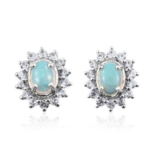 Ethiopian Welo Opal (Ovl), Natural Cambodian Zircon Stud Earrings (with Push Back) in Platinum Overlay Sterling Silver 2.250 Ct.