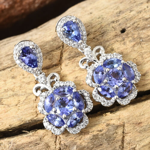 Tanzanite (Pear), Natural Cambodian Zircon Flower Earrings (With Push Back) in Platinum Overlay Sterling Silver 4.000 Ct.