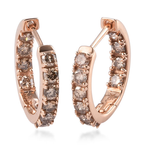 Limited Edition- 9K Rose Gold SGL Certified Natural Champagne Diamond (I2-I3) In-Out Hoop Earrings 1