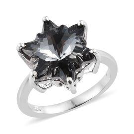 J Francis - Crystal From Swarovski - Swarovski Crystal Silver Night Stellaris Cut Ring in Platinum Overlay Sterling Silver
