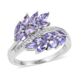 2.32 Ct Tanzanite and Zircon Leaf Ring in Platinum Plated Sterling Silver