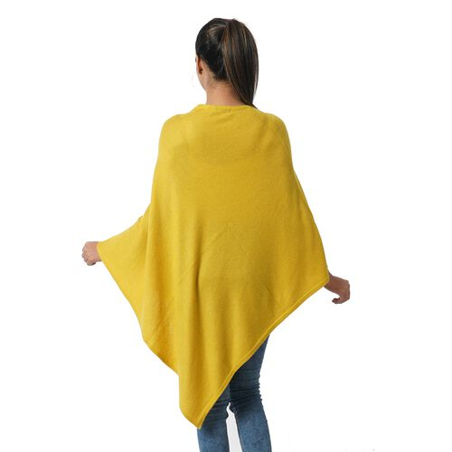 Limited Available - 100% Himalayan Pashmina Wool Poncho - Mustard Colour (Free Size/70x70Cm)