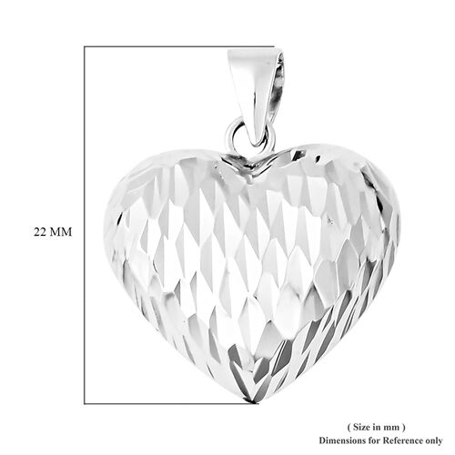 Rhodium Overlay Sterling Silver Heart Pendant