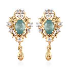 Grandidierite and Natural Cambodian Zircon Dangle Earrings (with Push BAck)  in 14K Gold Overlay Ste