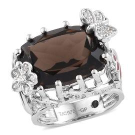 GP 10.50 Ct Quartz and Multi Gemstone Classic Ring in Platinum Plated Silver 9.13 Grams