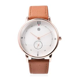 STRADA Water Resistance Watch with Camel Colour Strap in Rose Gold Plated