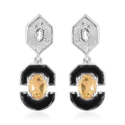 Citrine Enamelled Dangle Earrings (with Push Back) in Platinum Over Sterling Silver 0.75 Ct.