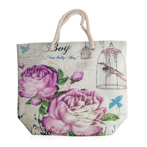 Close Out Deal White,Purple and Multi Colour Flower Pattern Beach Shopper (Size 47x37x14 Cm)