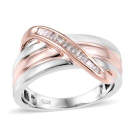 Diamond Criss Cross Ring in Rose Gold and Platinum Plated Silver 4.45 Grams