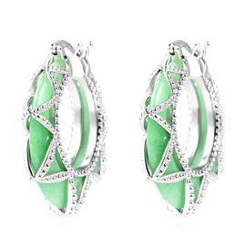 22.50 Ct Green Jade Hoop Earrings in Rhodium Plated Sterling Silver 11.81 Grams