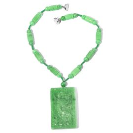 Carved Green Jade Necklace (Size 18) in Rhodium Overlay Sterling Silver  933.100 Ct.
