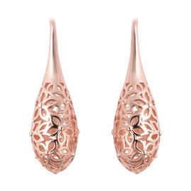 LucyQ Lace Collection - Drop Earrings in Rose Gold Overlay Sterling Silver, Silver wt 8.24 Gms