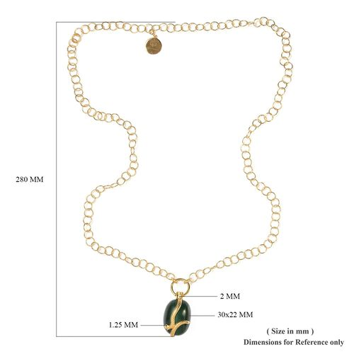 Sundays Child - SPECIAL ORDER - Malachite, Boi Ploi Black Spinel and Natural Cambodian Zircon Necklace (Size 32) with Charm in 14K Gold Overlay Sterling Silver 153.75 Ct, Silver wt 37.00 Gms