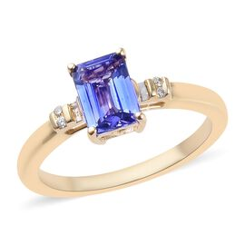 1 Carat AA Tanzanite and Diamond Ring in 14K Yellow Gold 2.54 Grams