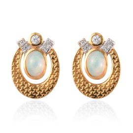 Ethiopian Welo Opal and Natural Cambodian Zircon Earrings in 14K Gold Overlay Sterling Silver 1.35 C