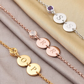 Personalised Engravable Initial Double Disc and Birthstone Bracelet