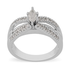 14K White Gold Natural White Diamond Ring 0.75 ct, Gold Wt. 6.60 Gms
