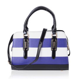 Blue and White Colour Stripe Pattern Tote Bag with Shoulder Strap (Size 31.5x22x12.5 Cm)