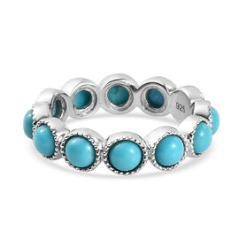 Arizona Sleeping Beauty Turquoise Ring in Platinum Overlay Sterling Silver 2.871  Ct.