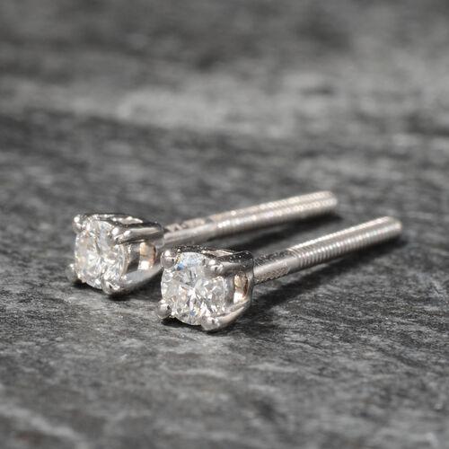 RHAPSODY 950 Platinum IGI Certified Diamond (Rnd) (E-F/VS) Earrings (with Screw Back) 0.10 Ct.