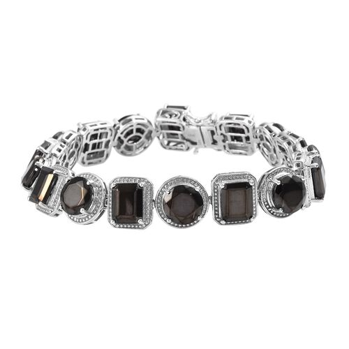 24.50 Ct Elite Shungite Tennis Bracelet in Platinum Plated Sterling Silver 25.06 Grams 8 Inch