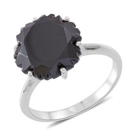 Snowflake Cut Boi Ploi Black Spinel Ring in Rhodium Plated Sterling Silver 11.500 Ct.
